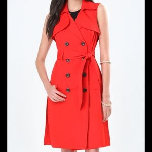 Bebe Double Button Sleeveless Classic Trench Coat